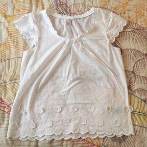 J. Crew White Cotton Embroidered Blouse size 12
